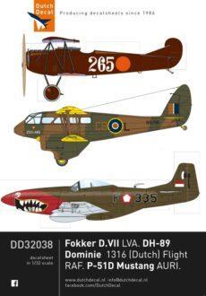 DD32038 D.VII, Dominie, P-51D AURI