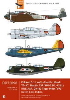 DD72098 Martin WH-1/3, Hawk 75, DH-82. Fokker G.1